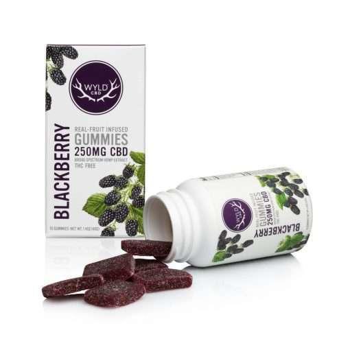 Wyld Blackberry Bottle with gummies outside packaging