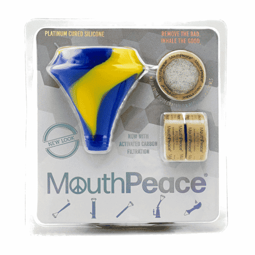 Mouthpeace Blue & Yellow in package