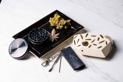 Lifestyle Setting Leef & Co Grinder Lighter Stoneware Pipe