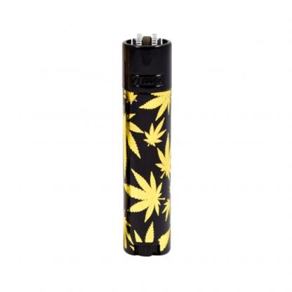 Clipper Lighter Metal Leaves Black on gold