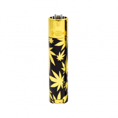 Clipper Lighter Metal Leaves Gold and Black