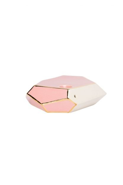Stonedware Large Pink and Gold GeoPipe Side Image