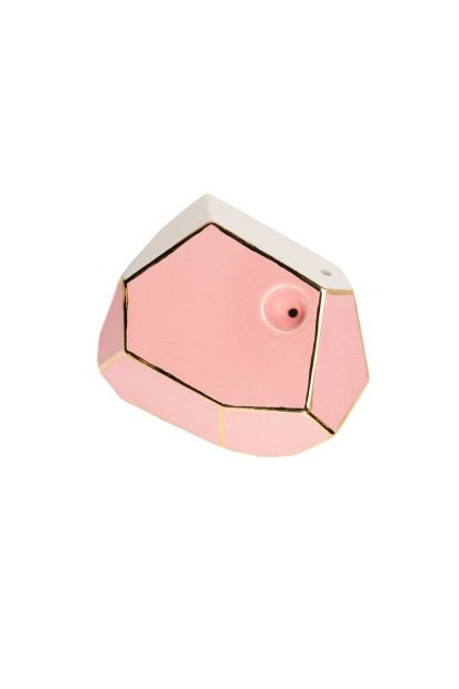 Stonedware Large Pink and Gold GeoPipe